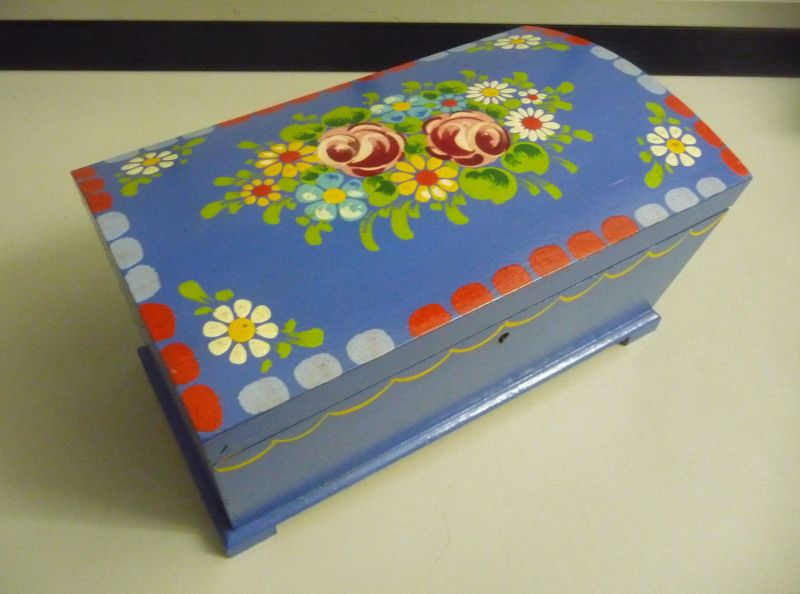 Wunderschöne Holz-Schatulle Holzkiste Box blau Blumenmalerei