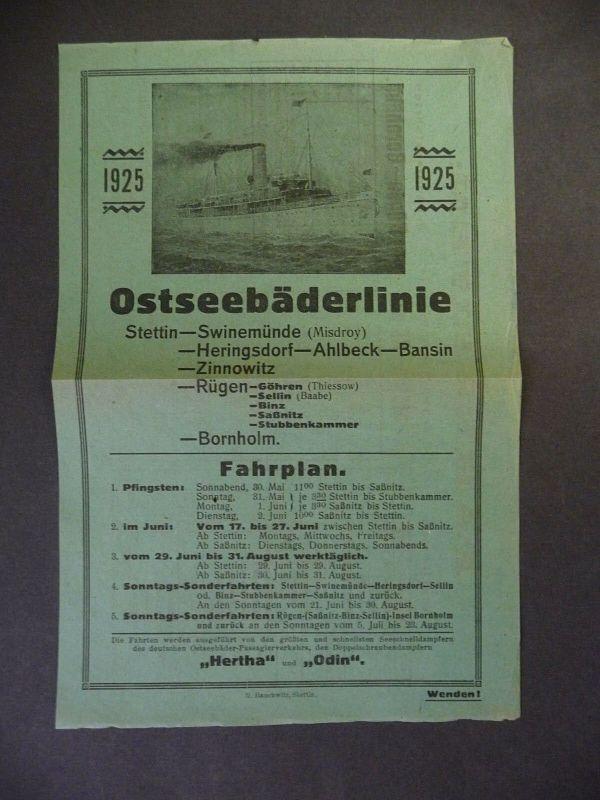 Faltblatt Fahrplan Ostseebäderlinie Schiffsverbindungen Ostsee 1925