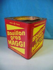 Große Blechdose Maggi Bouillon Gras / 14 x 14 x 16 cm
