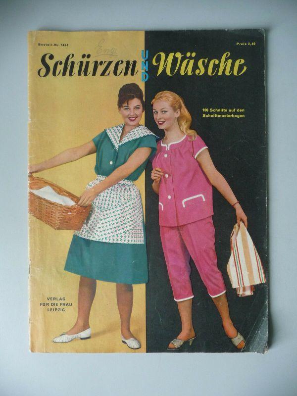 Heft Zeitschrift Schürzen und Wäsche Nr. 1453 1960 DDR Mode mit Schnittbogen 0