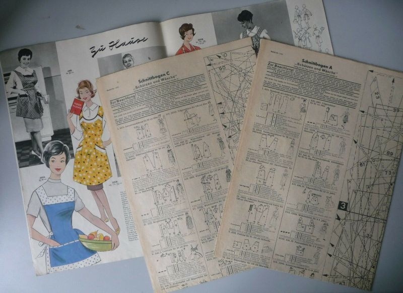 Heft Zeitschrift Schürzen und Wäsche Nr. 1453 1960 DDR Mode mit Schnittbogen 1