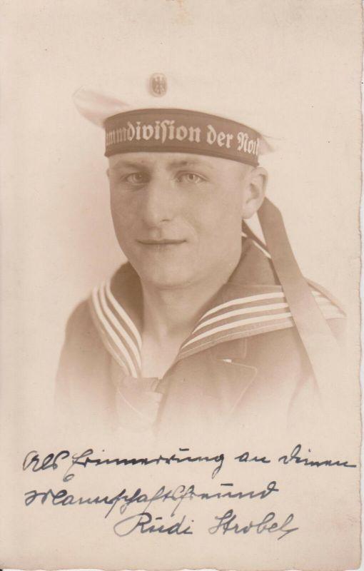 Orig Foto Matrose mit Mütze Stammdivision der Nordsee ?