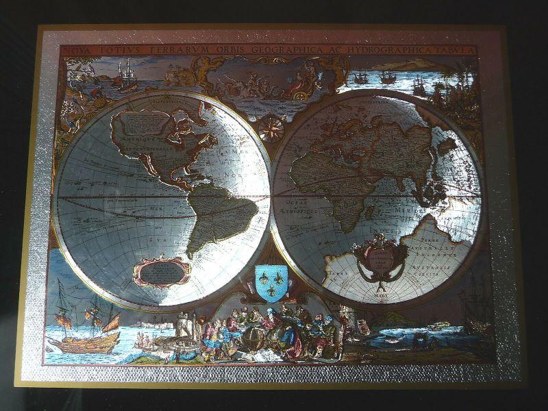 Deko-Bild Druck alte Weltkarte Leuchteffekt lumineszierend 1