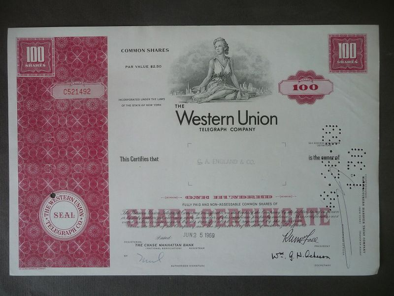 Aktie Share Western Union Telegraph Comp. 1969
