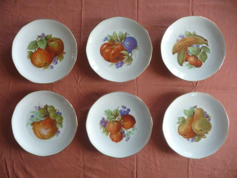 6 x Kleiner Teller Obstteller Obst-Dekor / Haviland Porzellan