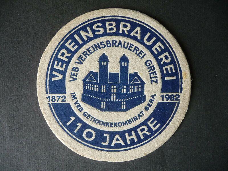 Bierdeckel Untersetzer Vereinsbrauerei Greiz 110 Jahre 1982
