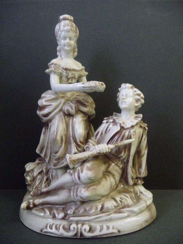Keramikfigur Schäferszene Idylle Paar in Stein-Optik