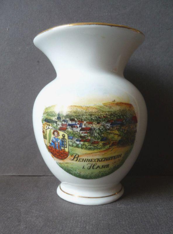Kleine Andenkenvase Blumenvase Benneckenstein Harz / Kahla Porzellan
