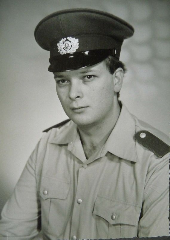 Orig Foto POrträt Soldat Hemd Mütze / DDR NVA Reichenbach 1986