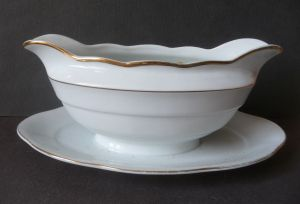 Sauciere weiß Goldrand / Schaller Porzellan