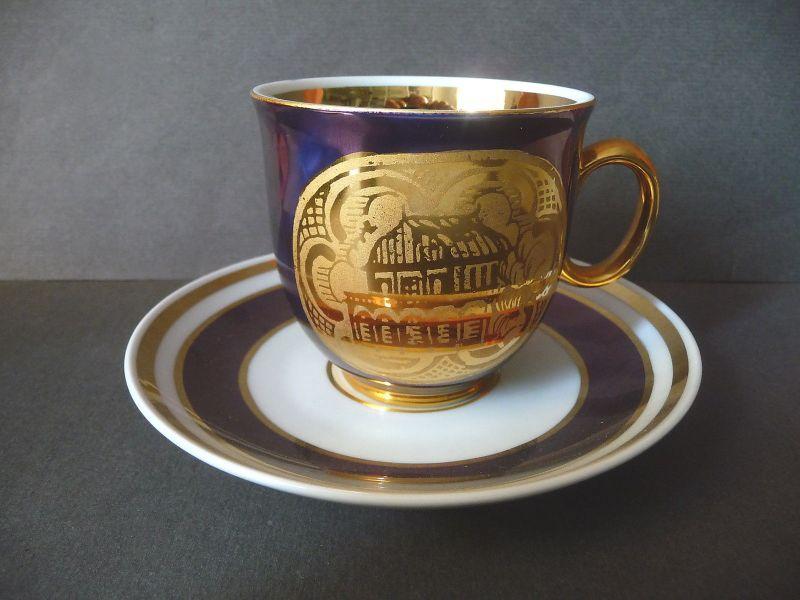Kaffeetasse violett gold / Rucni Malba Porzellan Tschechoslowakei