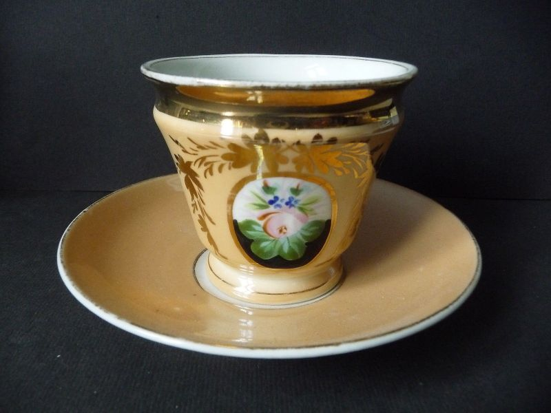 Kaffeetasse Tasse Porzellan gelb-gold Blumendekor