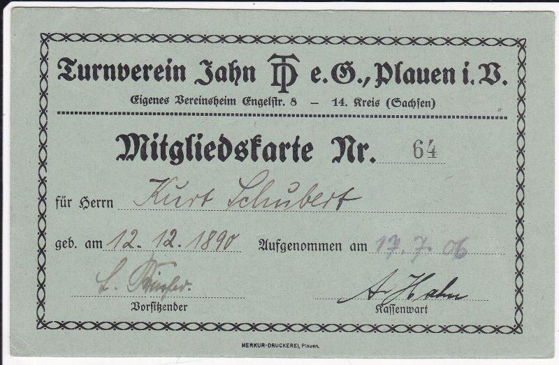 Orig. Mitgliedskarte Turnverein Jahn Plauen Vogtland 1906