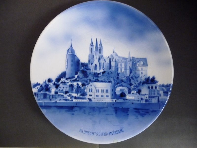 Großer Zierteller Wandteller mit Motiv Albrechtsburg Meissen