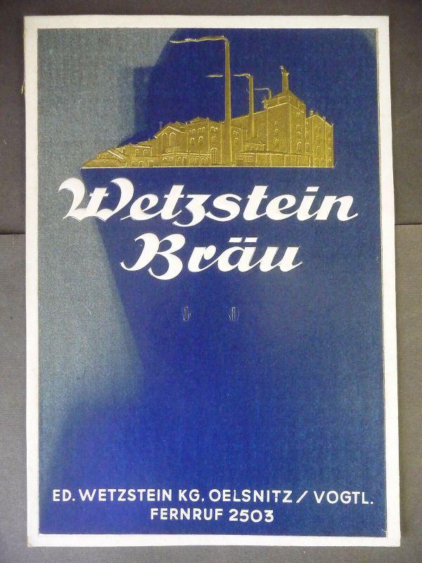 Reklameschild Pappschild für Kalender Wetzstein-Bräu Oelsnitz Vogtland