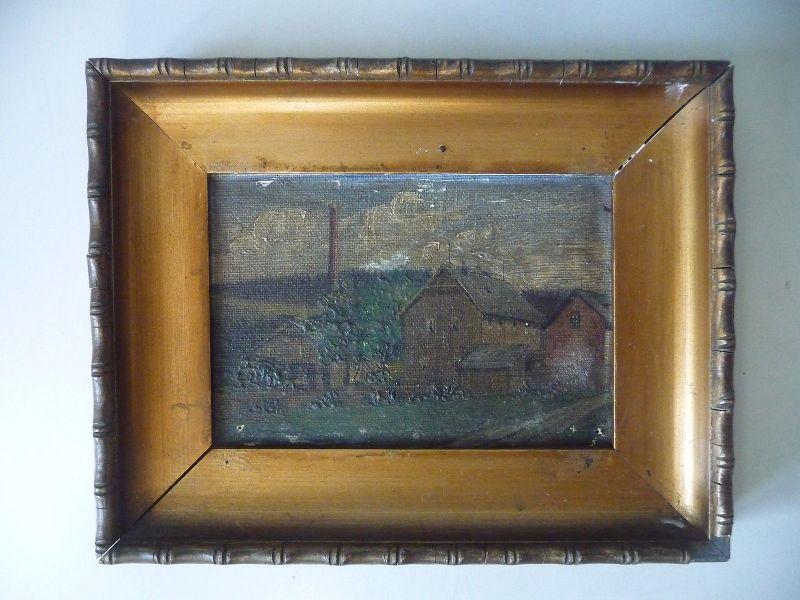 Kleines Bild Gemälde Mühle Häuschen 15 x 19 cm 1911