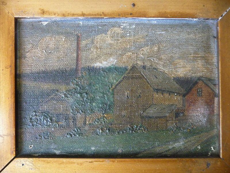 Kleines Bild Gemälde Mühle Häuschen 15 x 19 cm 1911 1