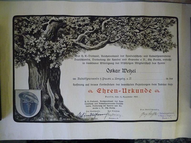Orig. Urkunde Rabattsparverein Pausa 25 Jahre 1932