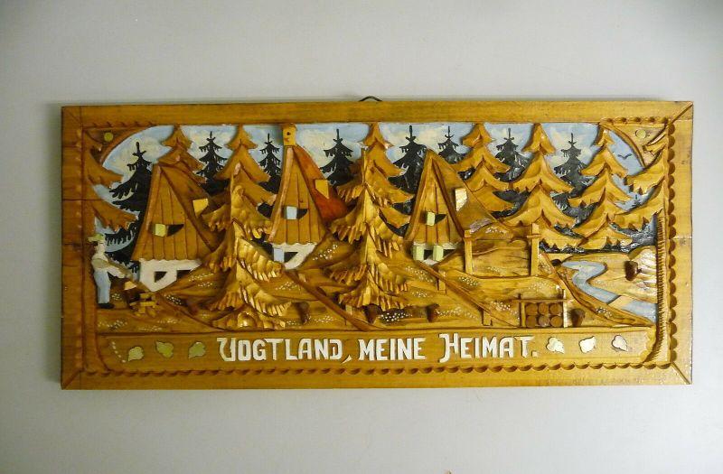 Holzbild Holzrelief Schnitzarbeit Volkskunst