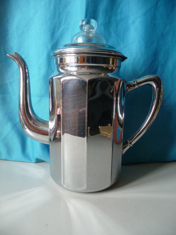 Teekanne mit Sieb Filter Einsatz Metall verspiegelt