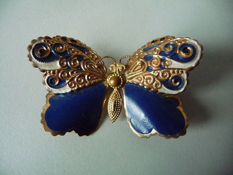 Schöne Brosche Schmetterling gold-blau Modeschmuck