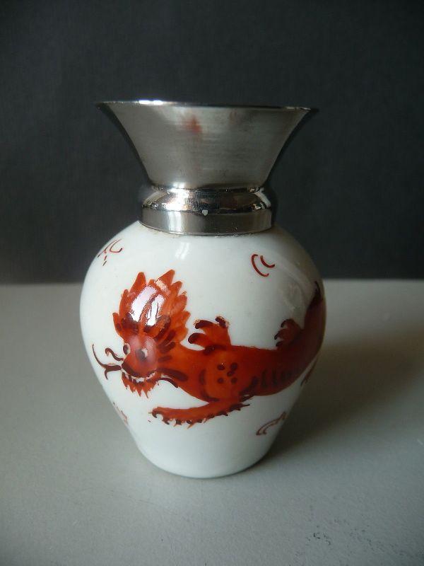Kleine Vase Miniatur-Vase Metallkragen Roter Drache / MF Großbreitenbach (I)