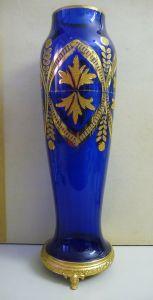 Prächtige blaue Vase mit Golddekor 45 cm hoch