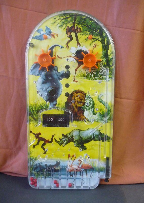 Flipperspiel Bagatellspiel mit Urwald Safari-Motiven Kunststoff