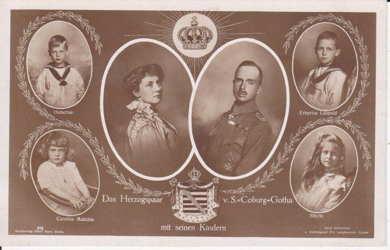 Fotopostkarte Herzogspaar Sachsen Coburg Gotha Kinder