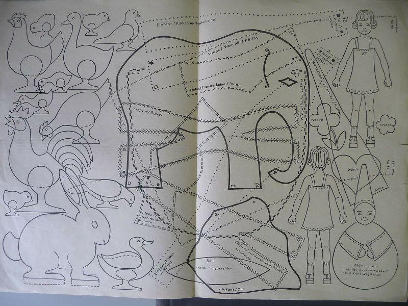 Spielzeug f. Mädchen selbstgemacht Bastel-Anleitungen Schnittmuster Minerva 1945 1