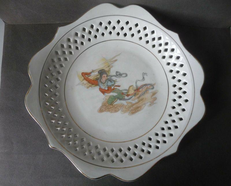 Zierteller mit China-Motiv Durchbruchrand / Made in China