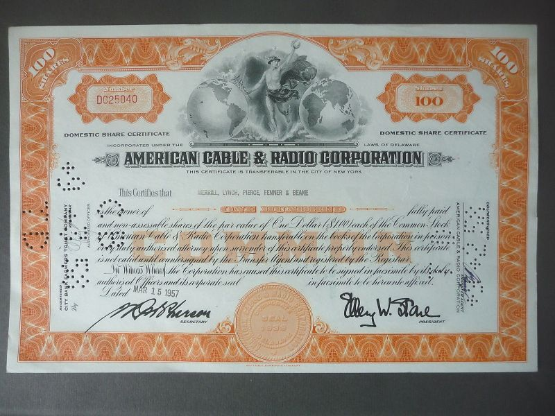 Aktie Share American Cable Radio Corporation 1957