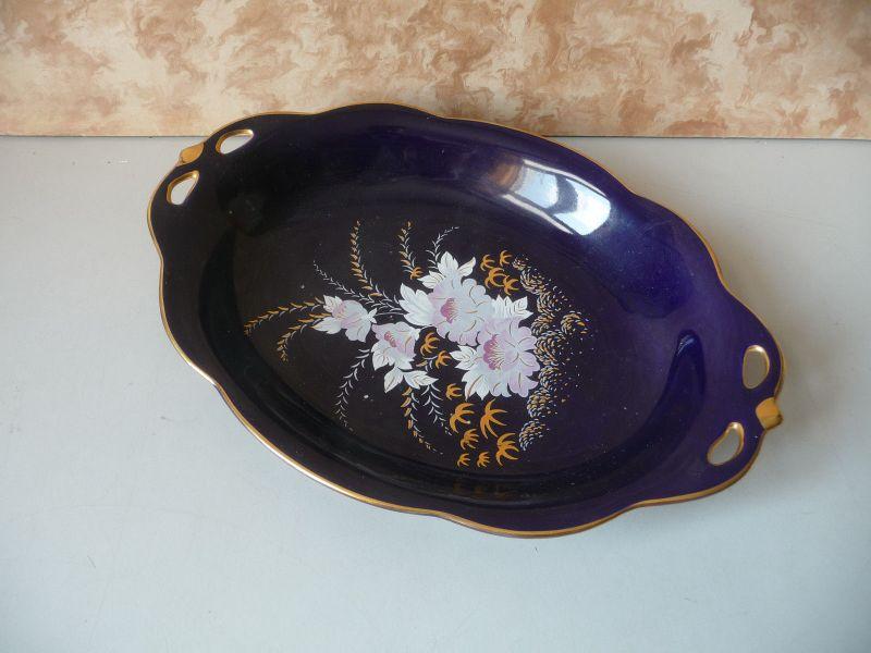 Schale mit Blumendekor Kobaltblau / Crown Arco Porcelain