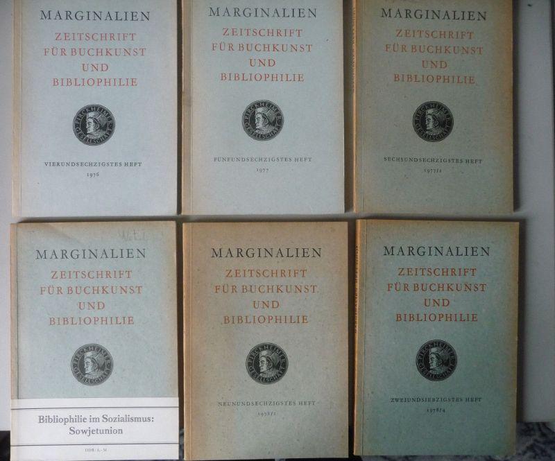 6 x Marginalien. Zeitschrift Buchkunst Bibliophilie DDR 1976 - 78 0
