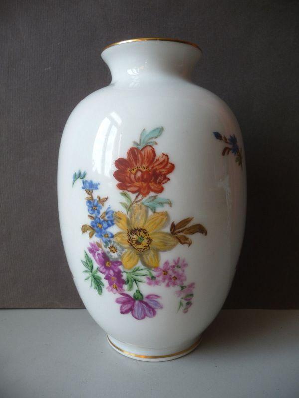 Blumenvase mit Blumendekor bauchig-hoch Porzellan