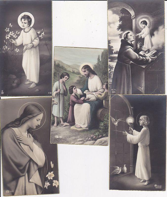 5 alte Andachtsbildchen Christusbild Heiligenbild Andacht ca. 1920