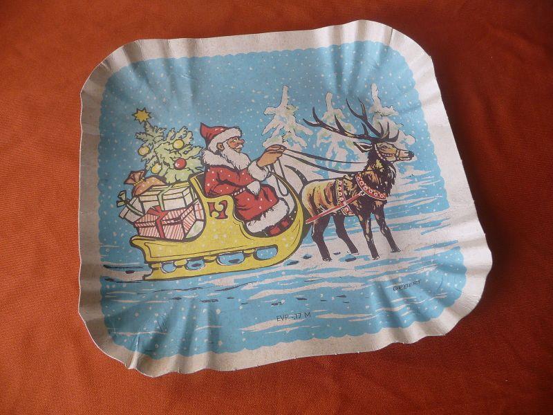 Weihnachtsteller Pappteller DDR Weihnachtsmann Rentier Gebert