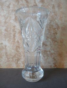 Stattliche Blumenvase Glasvase gemustert 25 cm