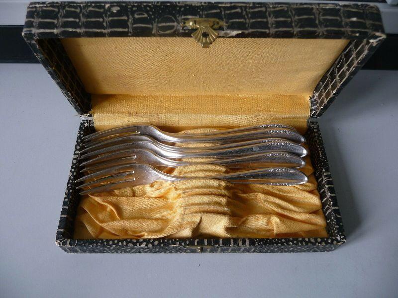 6 Kuchengabeln Gabel versilbert in Originalschachtel / BSF 90