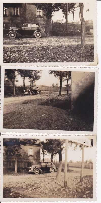 3 Originalfotos Automobil Oldtimer vor Gartenzaun 1935