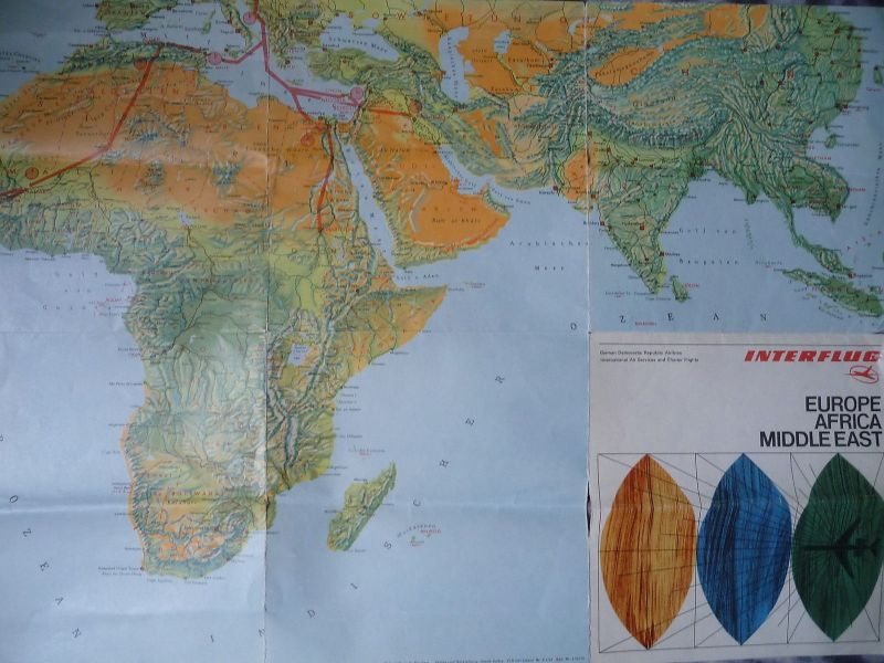 Prospekt Interflug Europa  Afrika Mittlerer Osten Flugstrecken Landkarte