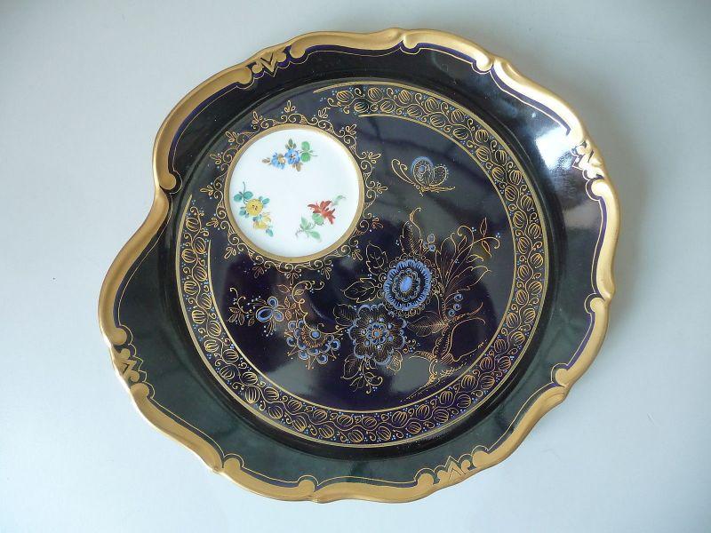 Seltenes Tablett Servierteller / Kobaltblau Weimar Atelierkunst Porzellan