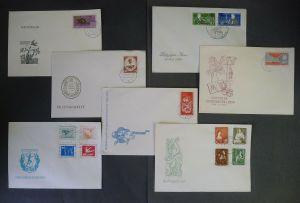 7 x Ersttagsbrief DDR Leipziger Messe Weltfestspiele Turn- Sportfest Biber 1959