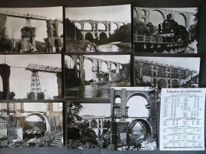 9 Foto-Postkarten Elstertalbrücke Zerstörung 1945 und Wiederaufbau / 1985