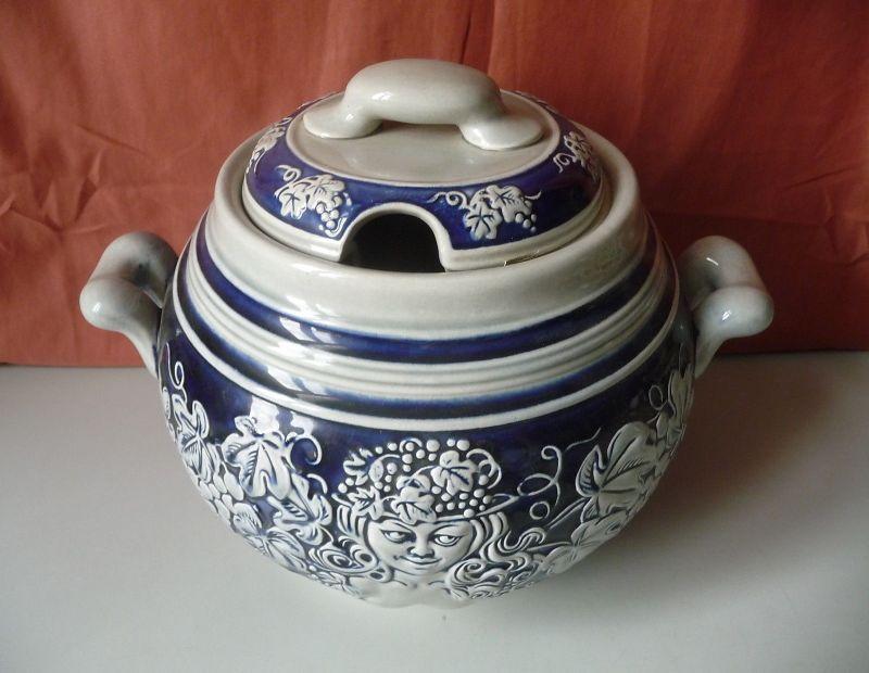 Wunderschöner Bowletopf grau blau Weinmotive / Westerwälder Keramik