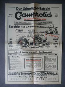 Orig. Reklame Flugblatt Camprolid Schmieröl-Extrakt / Franz Zschenderlein Werdau
