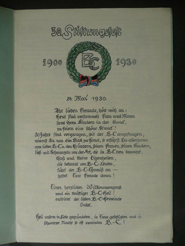 Festschrift Jubiläum Stiftungsfest BC Geselligkeitsverein Plauen Vogtland 1930
