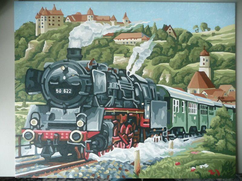 Deckfarbenbild Dampflok BR 50 622 mit Landschaft