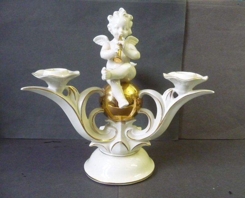 Prachtvoller Kerzenständer Kerzenhalter mit Putte / Carl Scheidig Gräfenthal