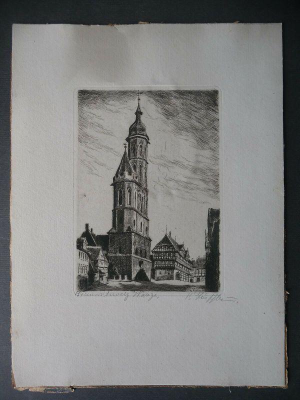 Original-Druck Radierung Braunschweig Waage / K. Buschbaum signiert